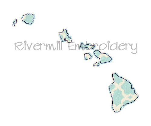 Raggy Applique State of Hawaii Machine Embroidery Design