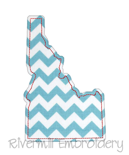 Raggy Applique State of Idaho Machine Embroidery Design