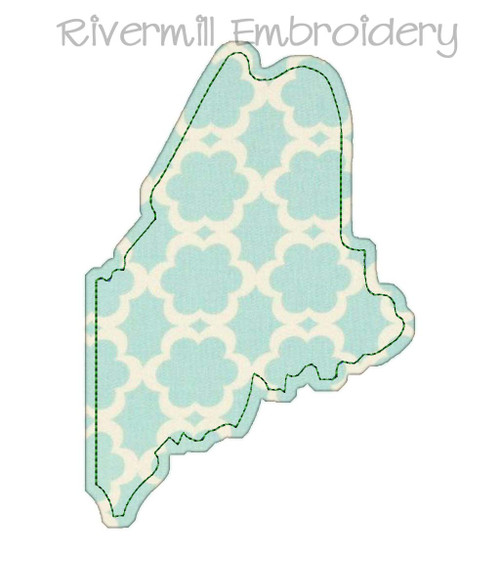 Raggy Applique State of Maine Machine Embroidery Design