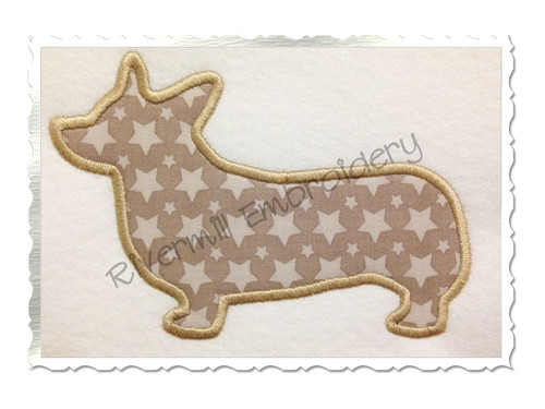 Applique Corgi Dog Silhouette Machine Embroidery Design