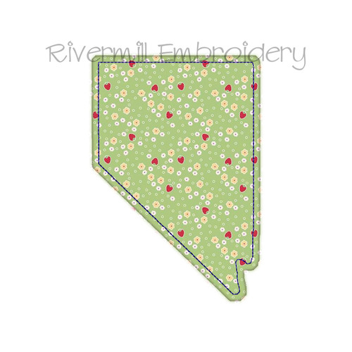 Raggy Applique State of Nevada Machine Embroidery Design