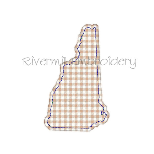 Raggy Applique State of NewHampshire Machine Embroidery Design