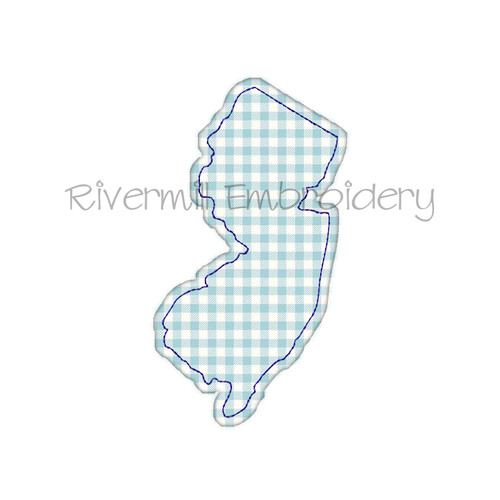 Raggy Applique State of New Jersey Machine Embroidery Design