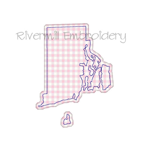 Raggy Applique State of Rhode Island Machine Embroidery Design