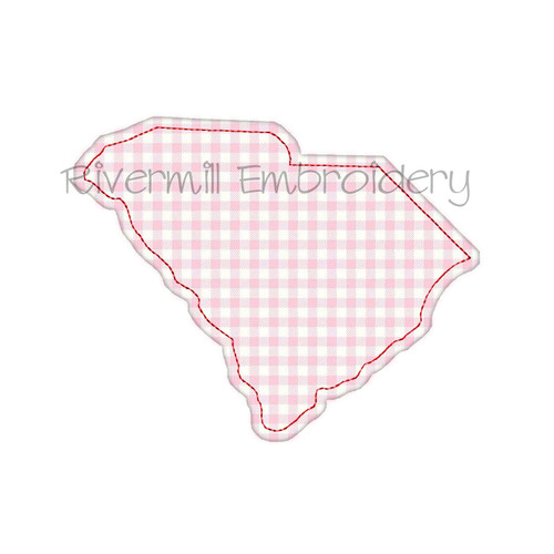 Raggy Applique State of South Carolina Machine Embroidery Design