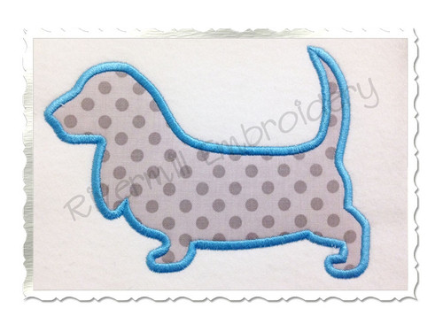 Applique Basset Hound Dog Silhouette Machine Embroidery Design