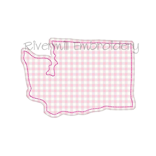 Raggy Applique State of Washington Machine Embroidery Design