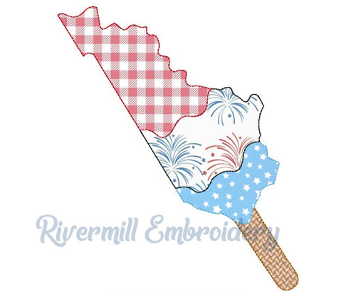 Raggy Applique Kentucky Shaped Red White & Blue Popsicle Machine Embroidery Design