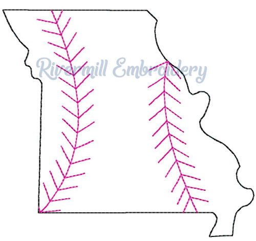 Raggy Applique Missouri with Baseball Stripes Machine Embroidery Design