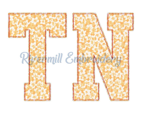 Raggy Applique Tennessee TN Varsity Style Machine Embroidery Design