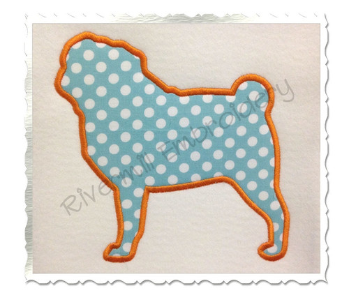 Applique Pug Dog Silhouette Machine Embroidery Design