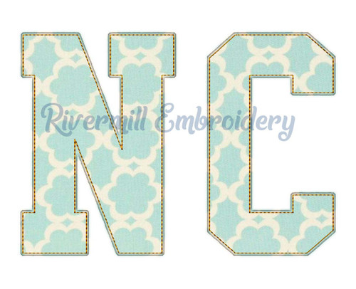 Raggy Applique North Carolina NC Varsity Style Machine Embroidery Design