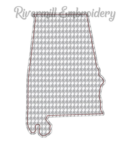 Large Raggy Applique State of Alabama Machine Embroidery Design