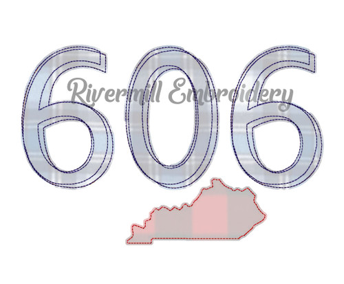 Raggy Applique Kentucky 606 Area Code Machine Embroidery Design