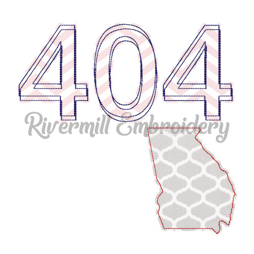 Raggy Applique Georgia 404 Area Code Machine Embroidery Design