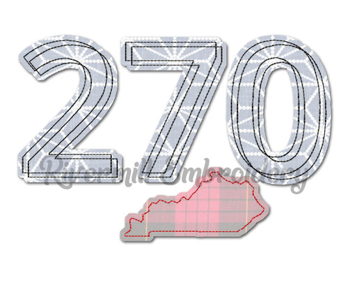 Raggy Applique Kentucky 270 Area Code Machine Embroidery Design