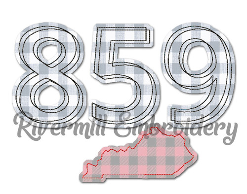 Raggy Applique Kentucky 859 Area Code Machine Embroidery Design