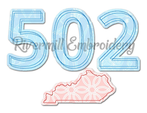 Raggy Applique Kentucky 502 Area Code Machine Embroidery Design