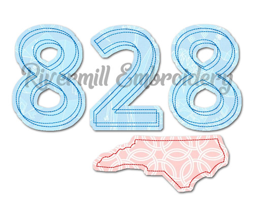 Raggy Applique North Carolina 828 Area Code Machine Embroidery Design