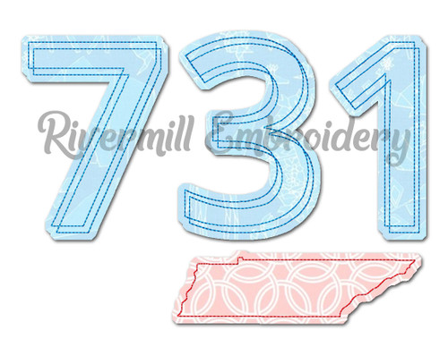 Raggy Applique Tennessee 731 Area Code Machine Embroidery Design