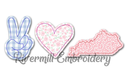 Raggy Applique Peace Love Kentucky Machine Embroidery Design