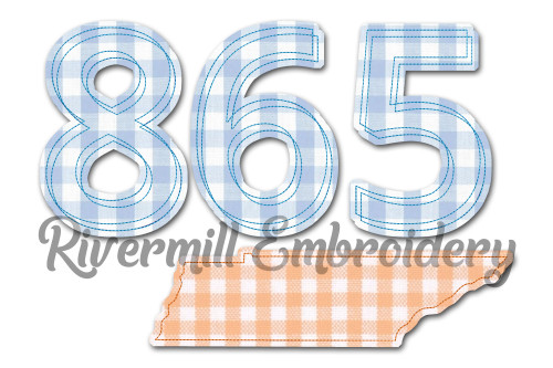 Raggy Applique Tennessee 865 Area Code Machine Embroidery Design