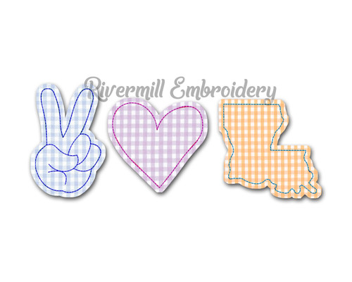 Raggy Applique Peace Love Louisiana Machine Embroidery Design
