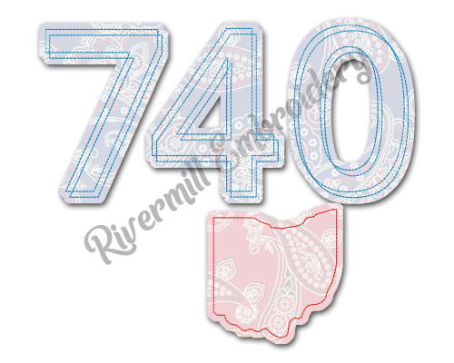 Raggy Applique Ohio 740 Area Code Machine Embroidery Design