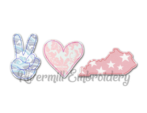 Large Raggy Applique Peace Love Kentucky Machine Embroidery Design
