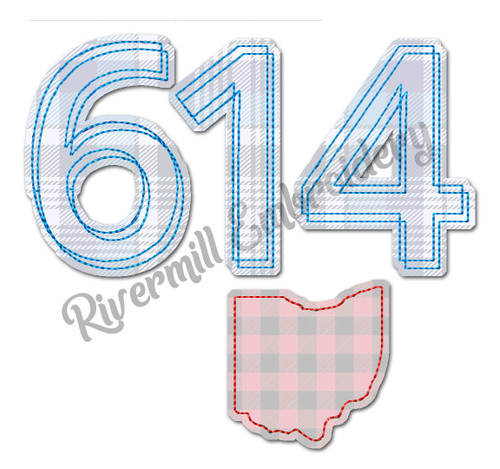 Raggy Applique Ohio 614 Area Code Machine Embroidery Design