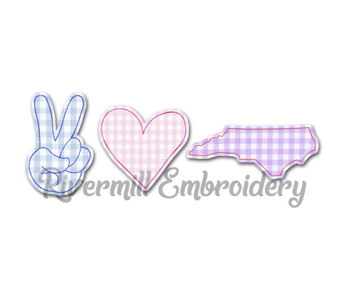 Raggy Applique Peace Love North Carolina Machine Embroidery Design