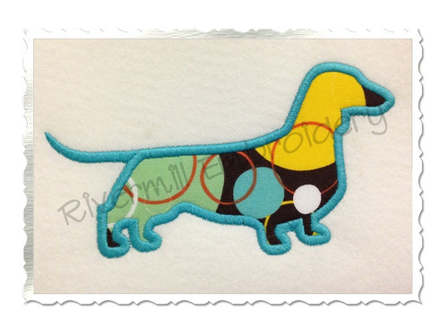 Applique Dachshund Silhouette Machine Embroidery Design