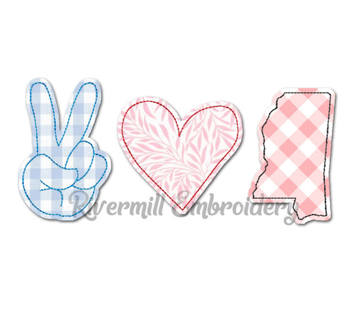 Raggy Applique Peace Love Mississippi Machine Embroidery Design