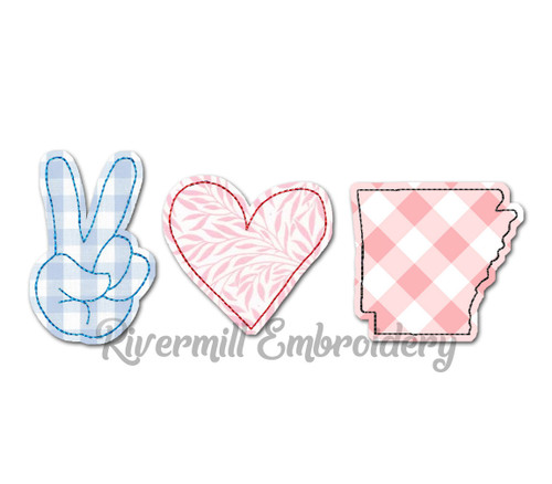 Raggy Applique Peace Love Arkansas Machine Embroidery Design