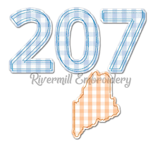 Raggy Applique Maine ME 207 Area Code Machine Embroidery Design