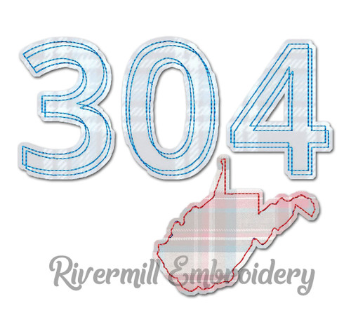 Raggy Applique West Virginia 304 Area Code Machine Embroidery Design