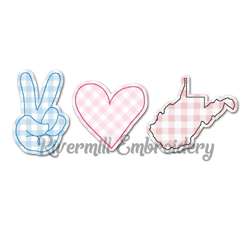 Raggy Applique Peace Love West Virginia Machine Embroidery Design