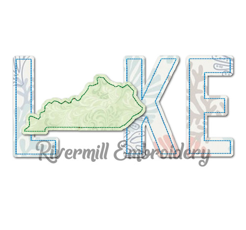 "Raggy Applique Lake with Kentucky as the ""A"" Machine Embroidery Design"