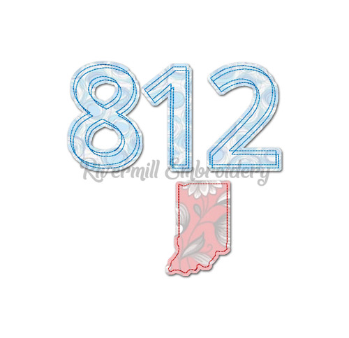 Raggy Applique Indiana 812 Area Code Machine Embroidery Design