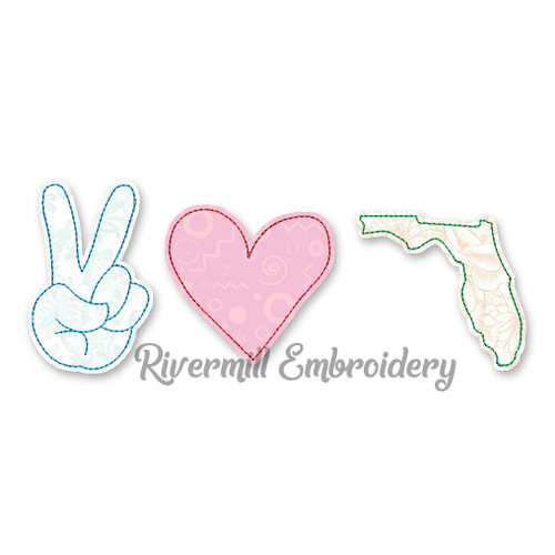 Raggy Applique Peace Love Florida Machine Embroidery Design