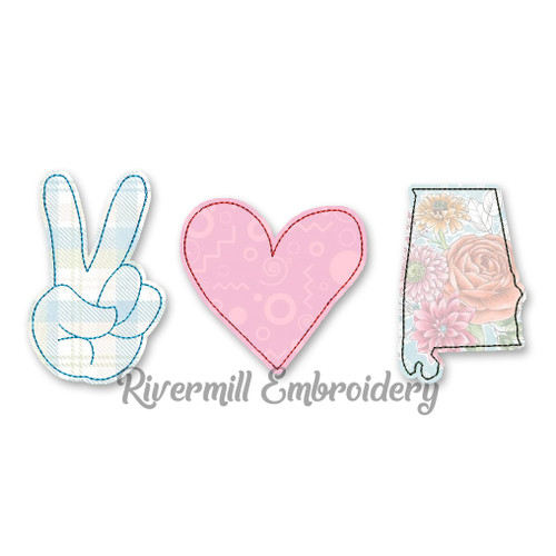 Raggy Applique Peace Love Alabama Machine Embroidery Design