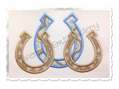 Three Horseshoes Applique Machine Embroidery Design