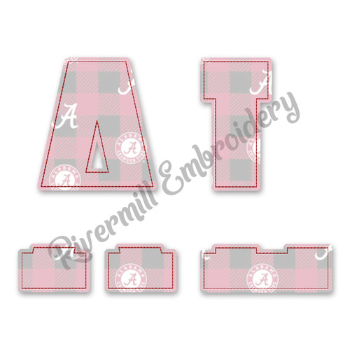 Raggy Applique Split AL Alabama Machine Embroidery Design