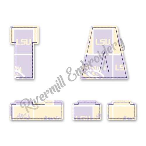 Raggy Applique Split LA Louisiana Machine Embroidery Design
