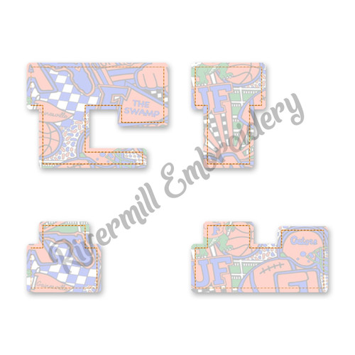 Raggy Applique Split Florida FL Machine Embroidery Design