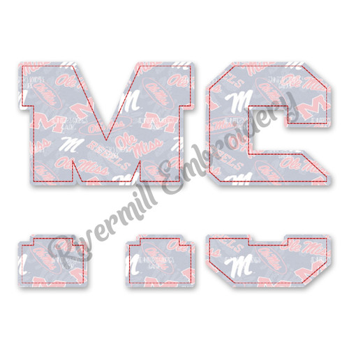 Raggy Applique Split Mississippi MS Machine Embroidery Design