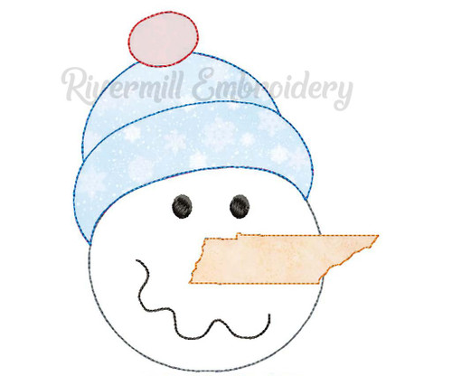 Raggy Applique Tennessee Nose Snowman Machine Embroidery Design