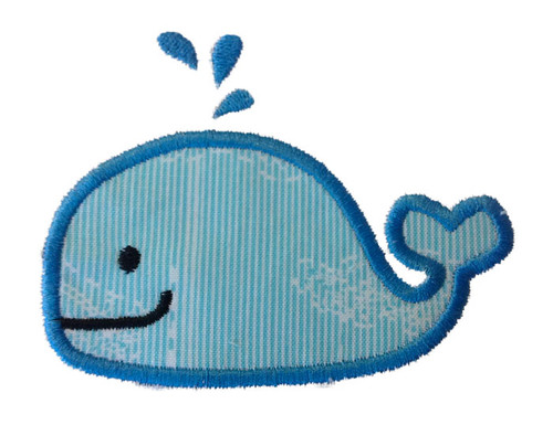 Applique Whale Machine Embroidery Design