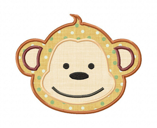 Monkey Face Applique Machine Embroidery Design