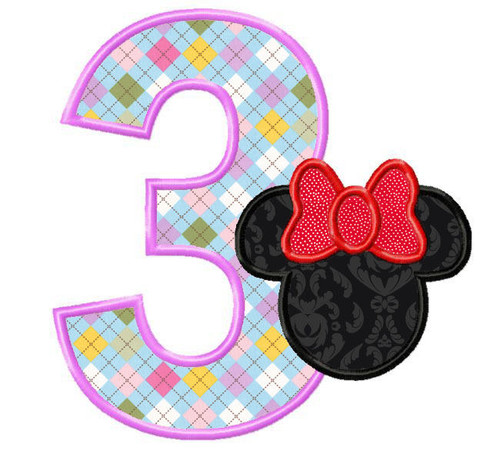 Mouse Ears With Bow Applique Numbers Machine Embroidery Designs